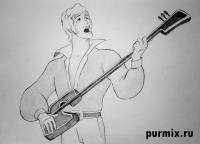 Трубадура из Бременских музыкантов простым карандашом