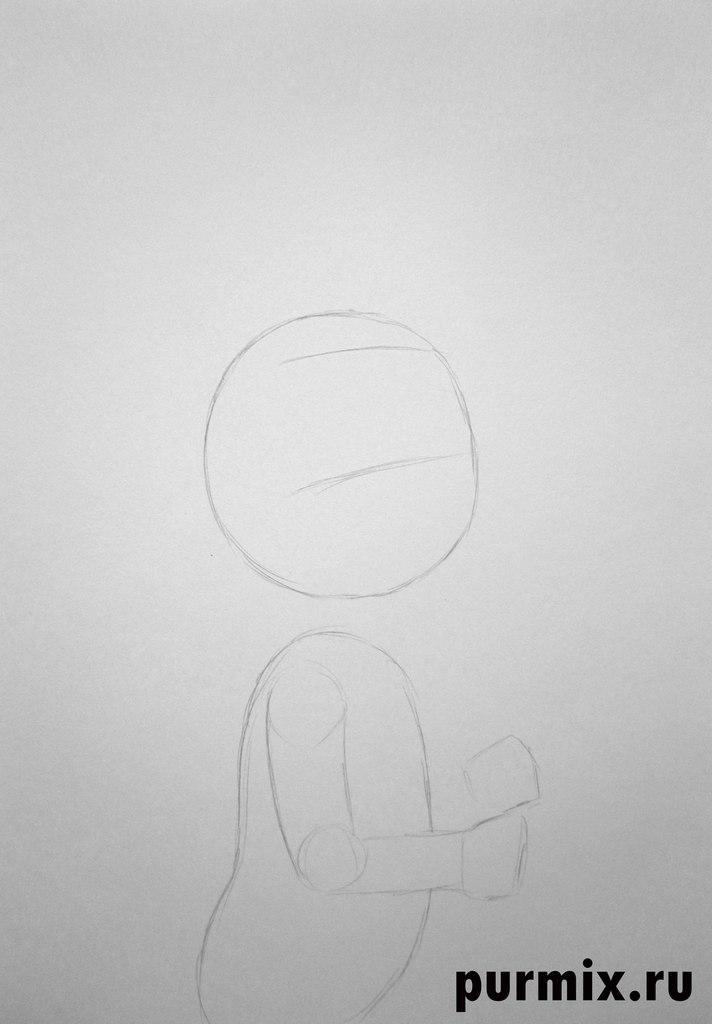 Рисуем зайца из Ну погоди - шаг 1