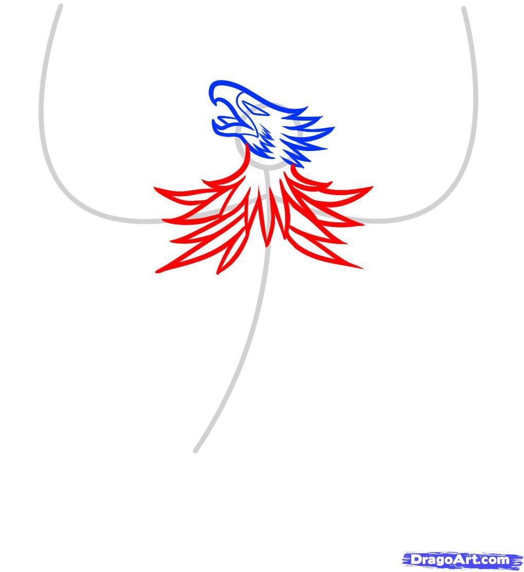 Рисуем тату в виде феникса - шаг 4