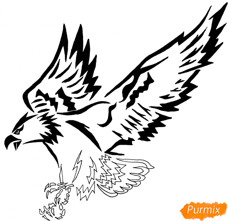 Рисуем коршуна в стиле тату - шаг 10