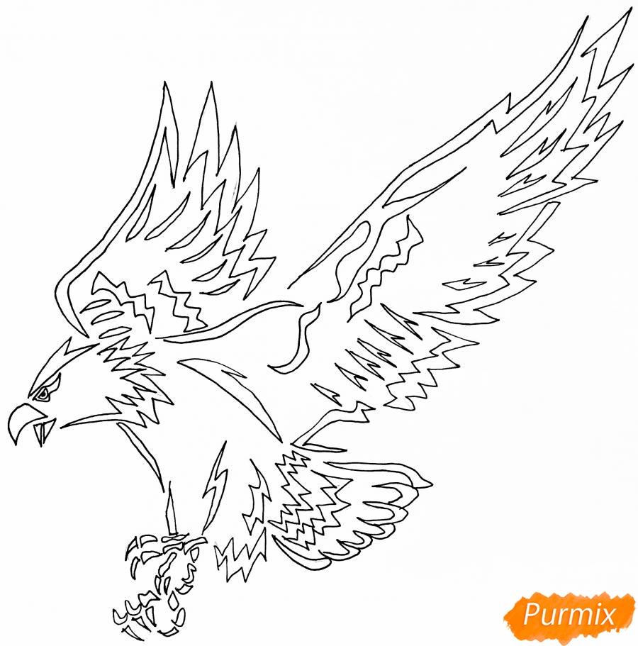Рисуем коршуна в стиле тату - шаг 6