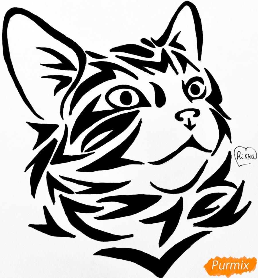 Рисуем портрет кошечки в стиле тату - шаг 10
