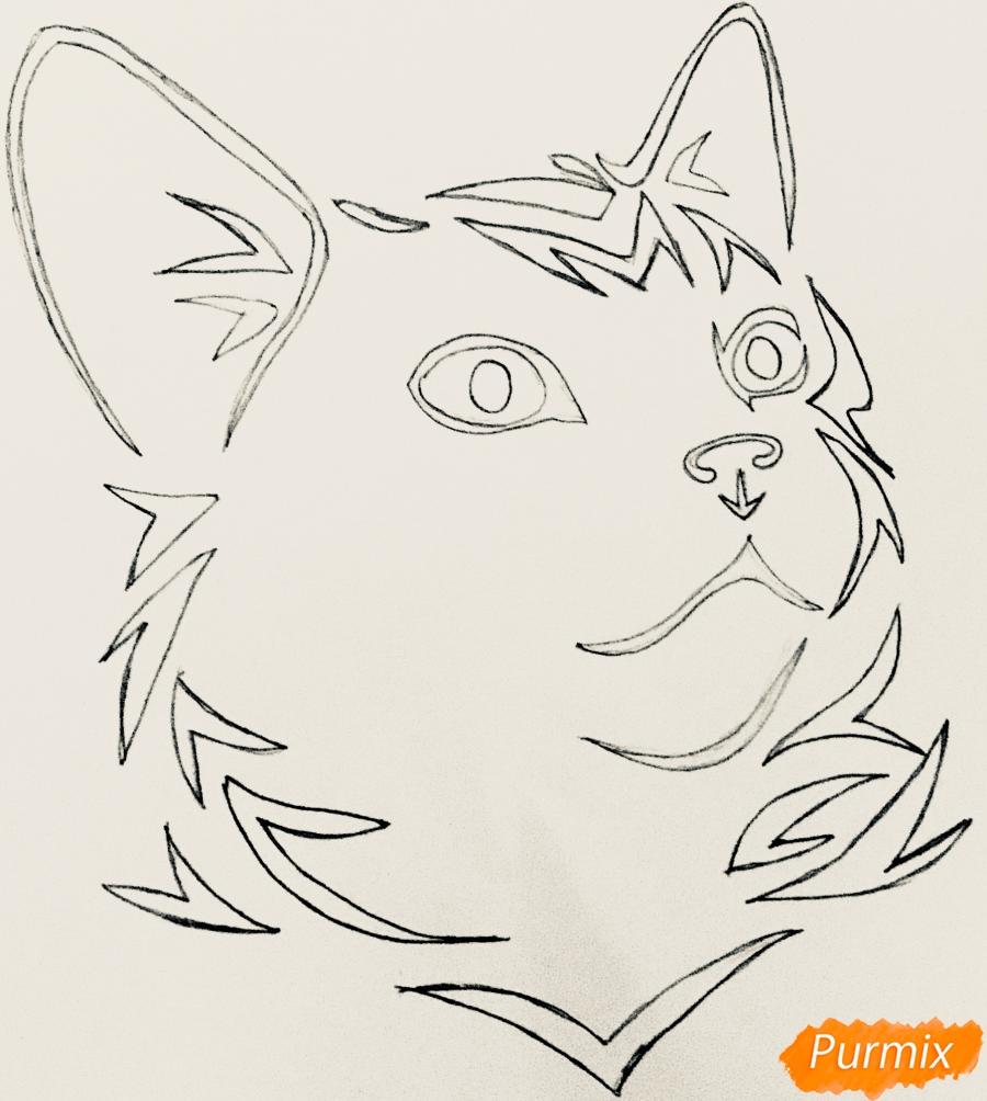 Рисуем портрет кошечки в стиле тату - шаг 3