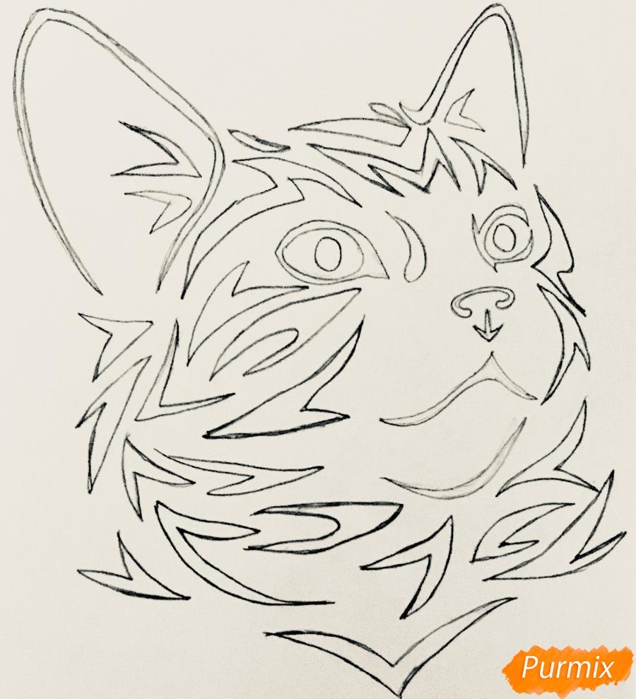 Рисуем портрет кошечки в стиле тату - шаг 4