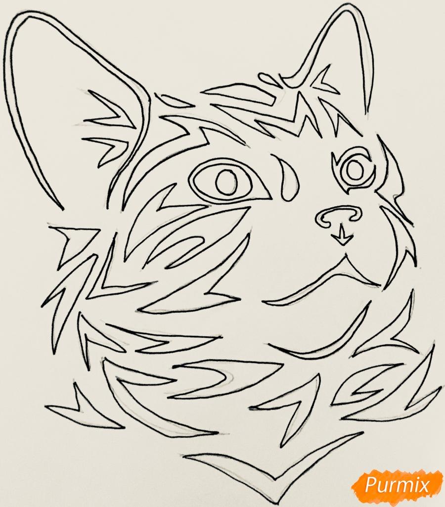 Рисуем портрет кошечки в стиле тату - шаг 5