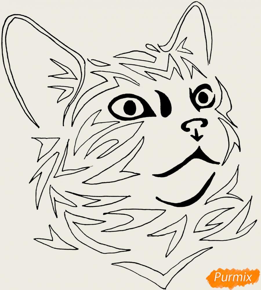 Рисуем портрет кошечки в стиле тату - шаг 6