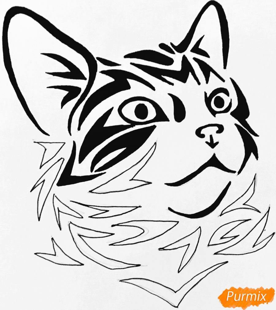 Рисуем портрет кошечки в стиле тату - шаг 8