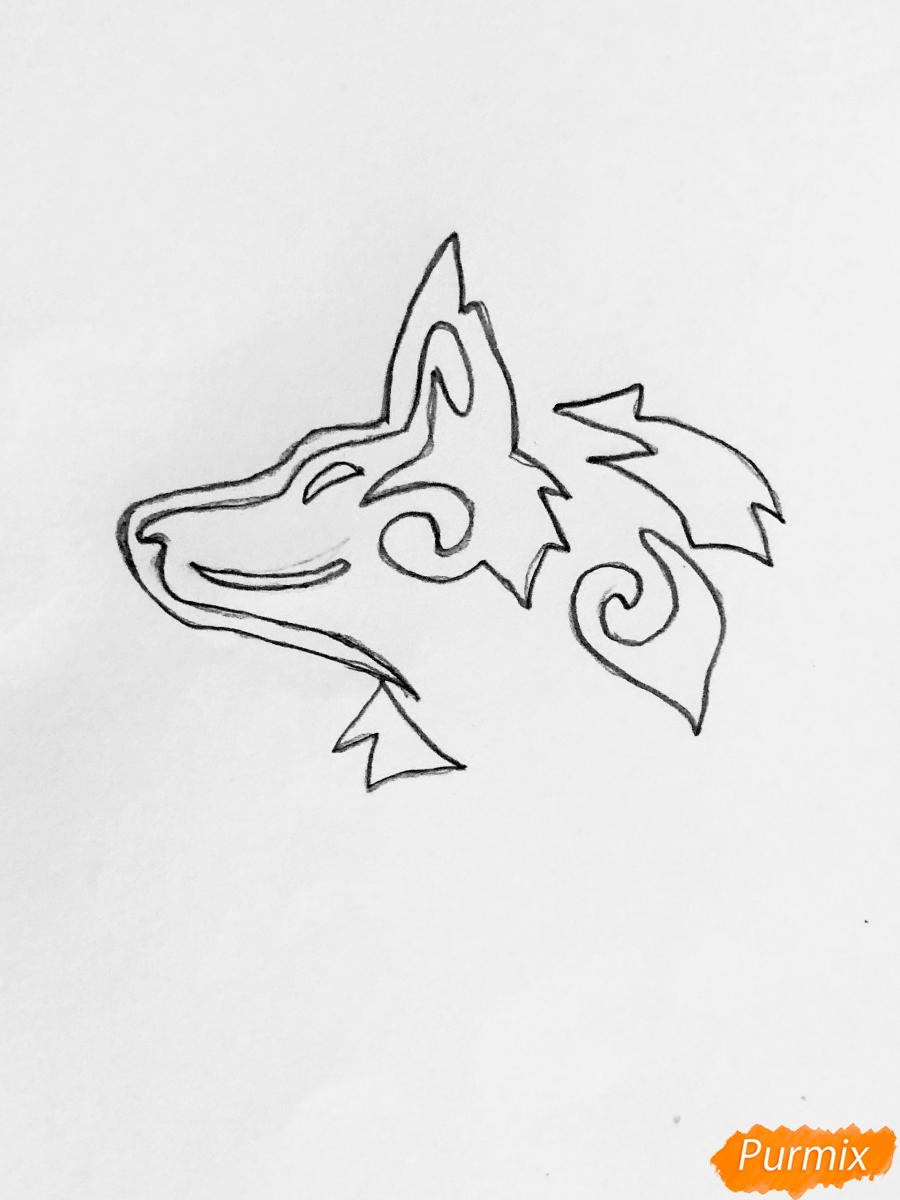 Рисуем лису в стиле тату - шаг 1