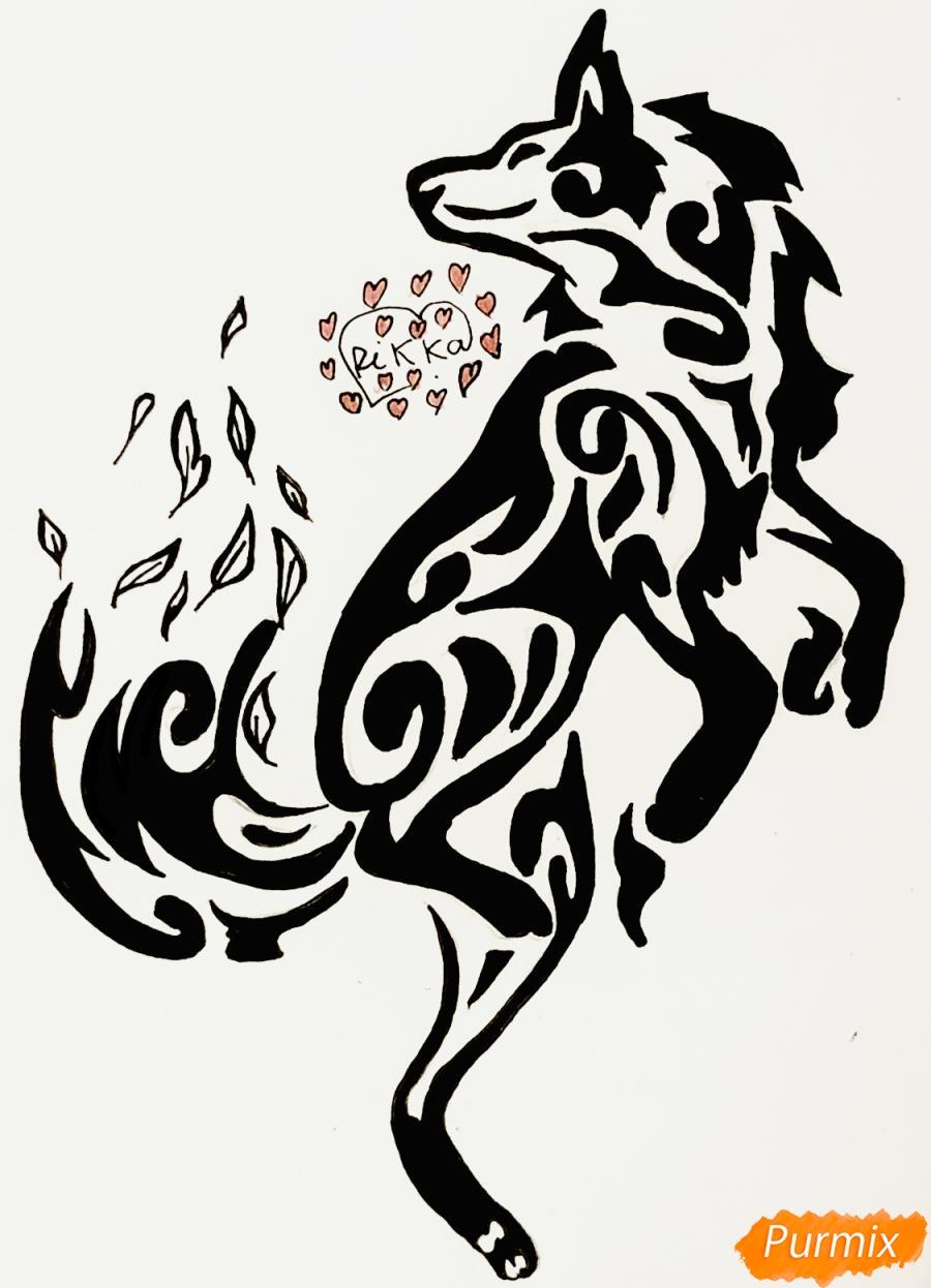 Рисуем лису в стиле тату - шаг 10