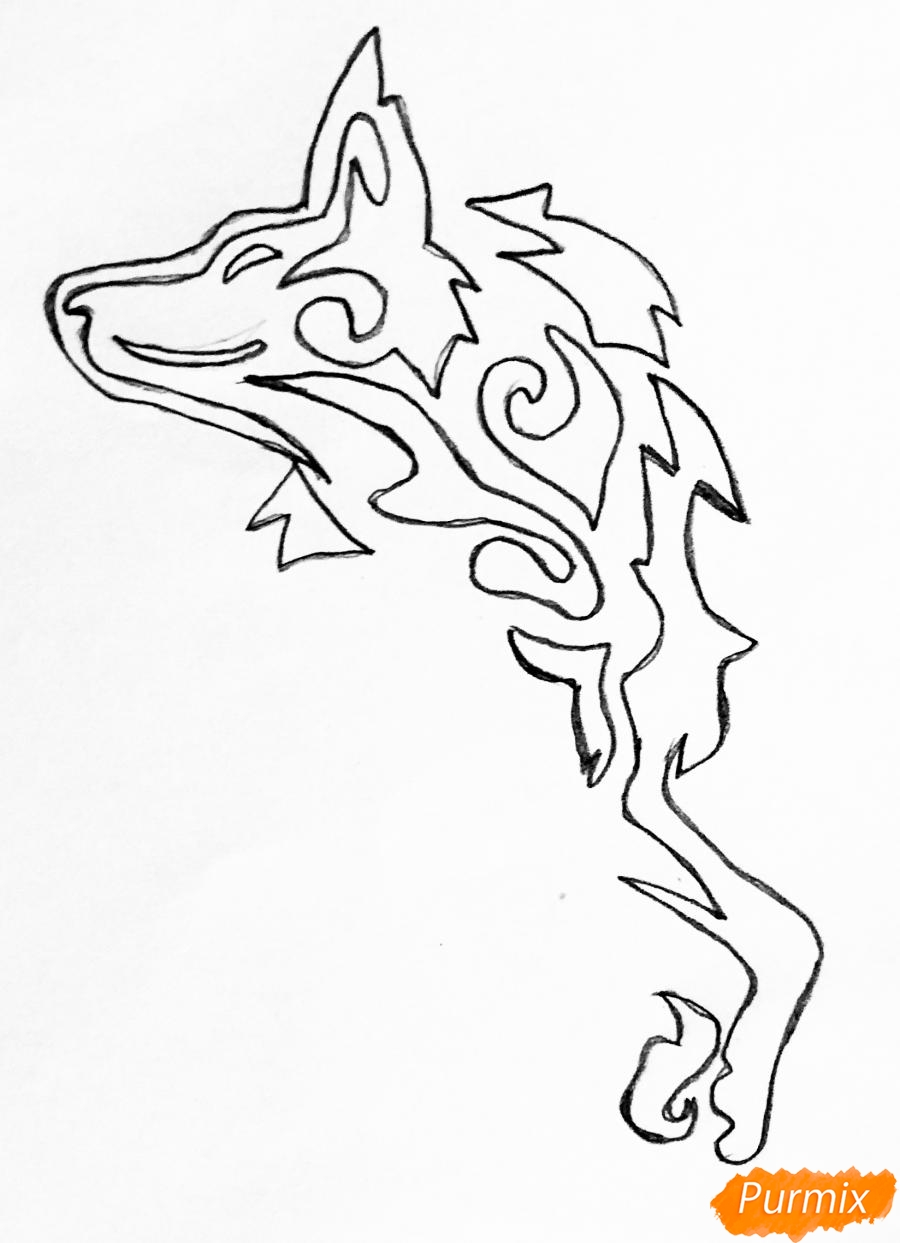 Рисуем лису в стиле тату - шаг 2