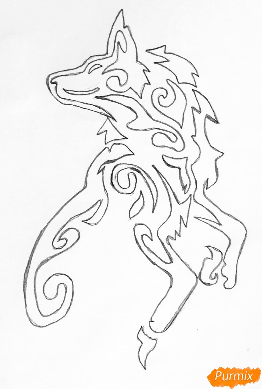 Рисуем лису в стиле тату - шаг 3