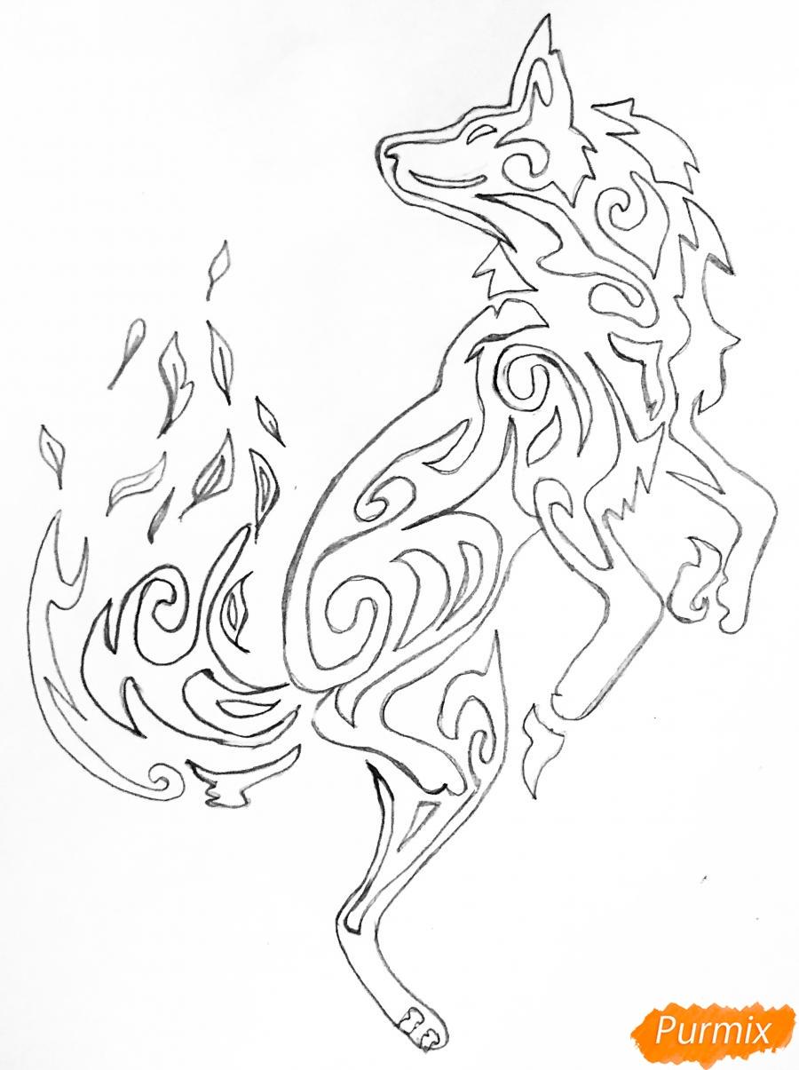 Рисуем лису в стиле тату - шаг 5