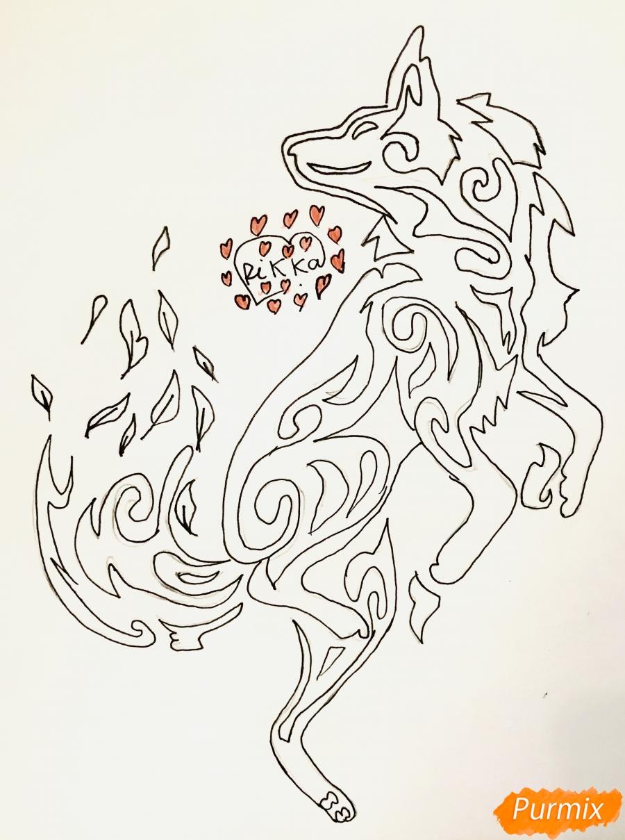 Рисуем лису в стиле тату - шаг 6