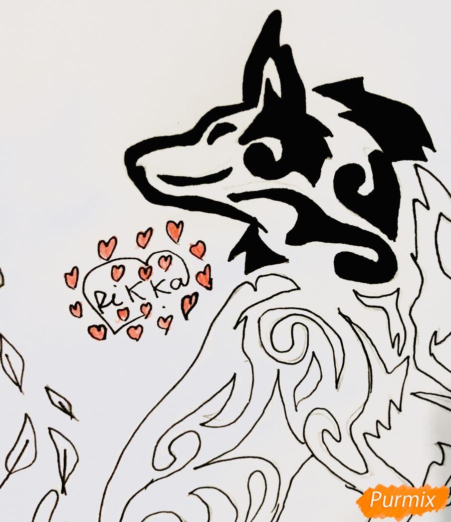 Рисуем лису в стиле тату - шаг 7