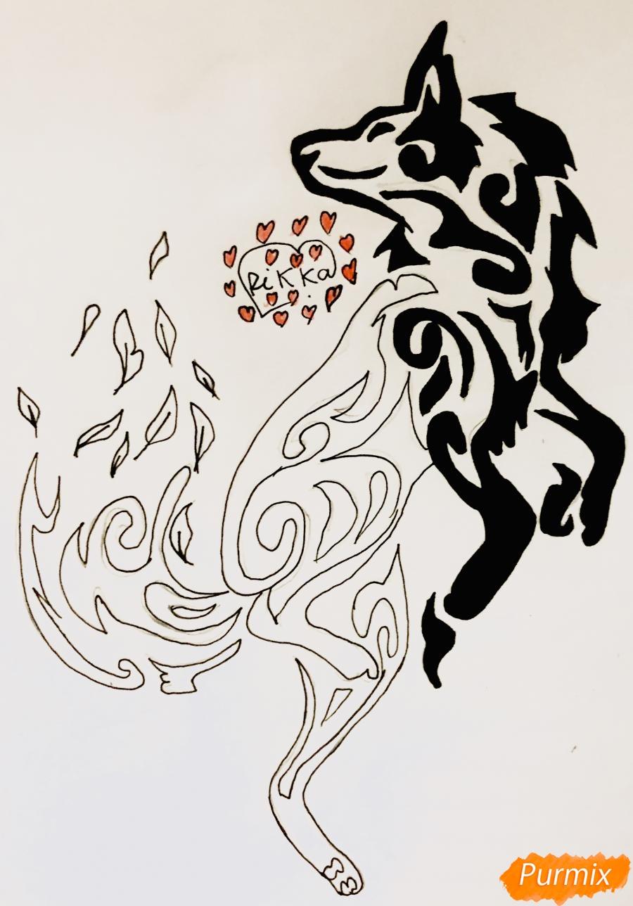 Рисуем лису в стиле тату - шаг 8