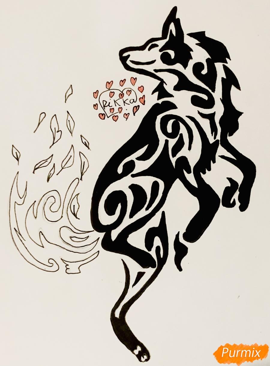 Рисуем лису в стиле тату - шаг 9