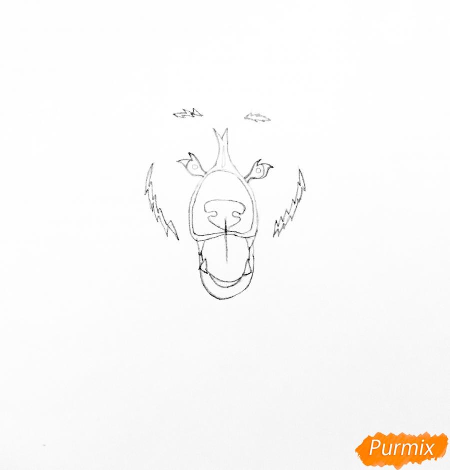Рисуем медведя в стиле тату - шаг 2