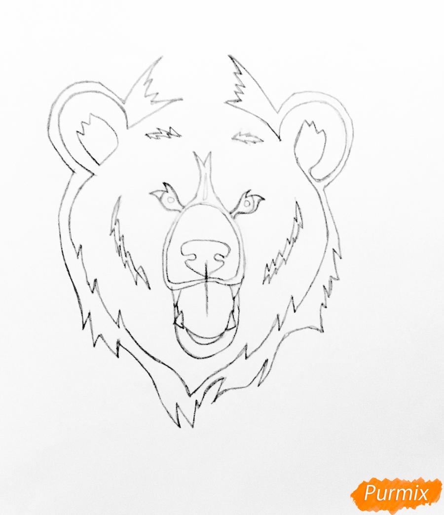 Рисуем медведя в стиле тату - шаг 3