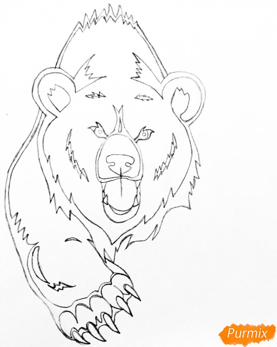 Рисуем медведя в стиле тату - шаг 5