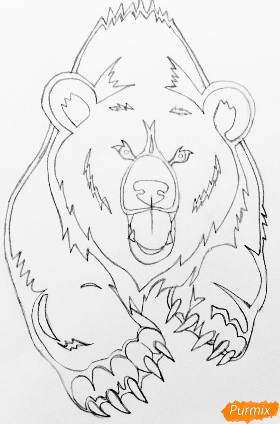 Рисуем медведя в стиле тату - шаг 6