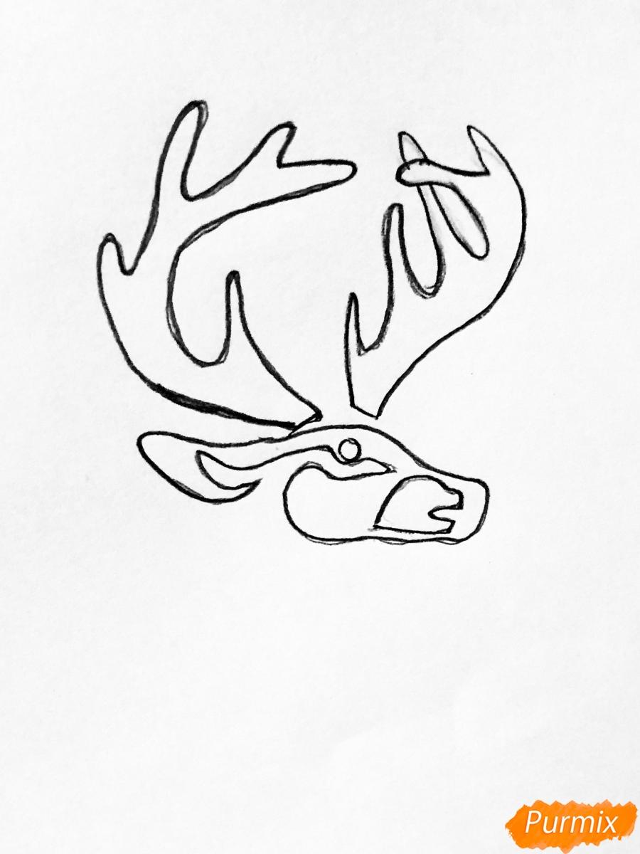 Рисуем оленя и оленёнка в стиле тату - шаг 1