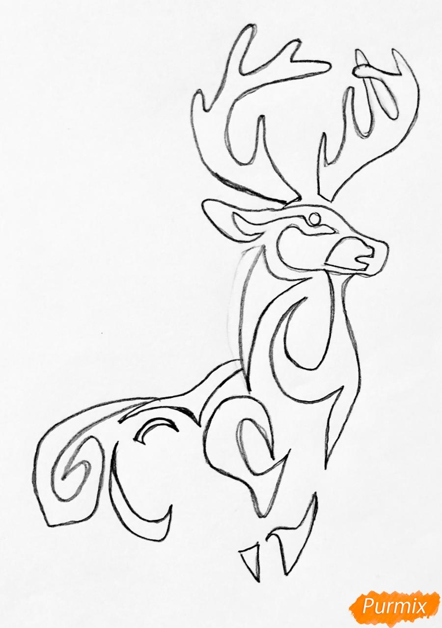 Рисуем оленя и оленёнка в стиле тату - шаг 2