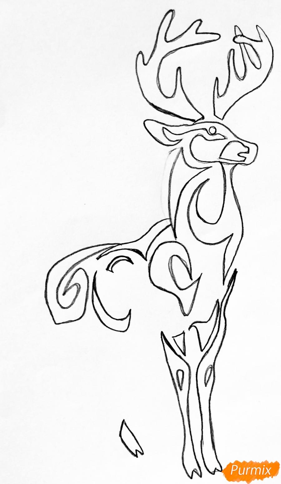 Рисуем оленя и оленёнка в стиле тату - шаг 3