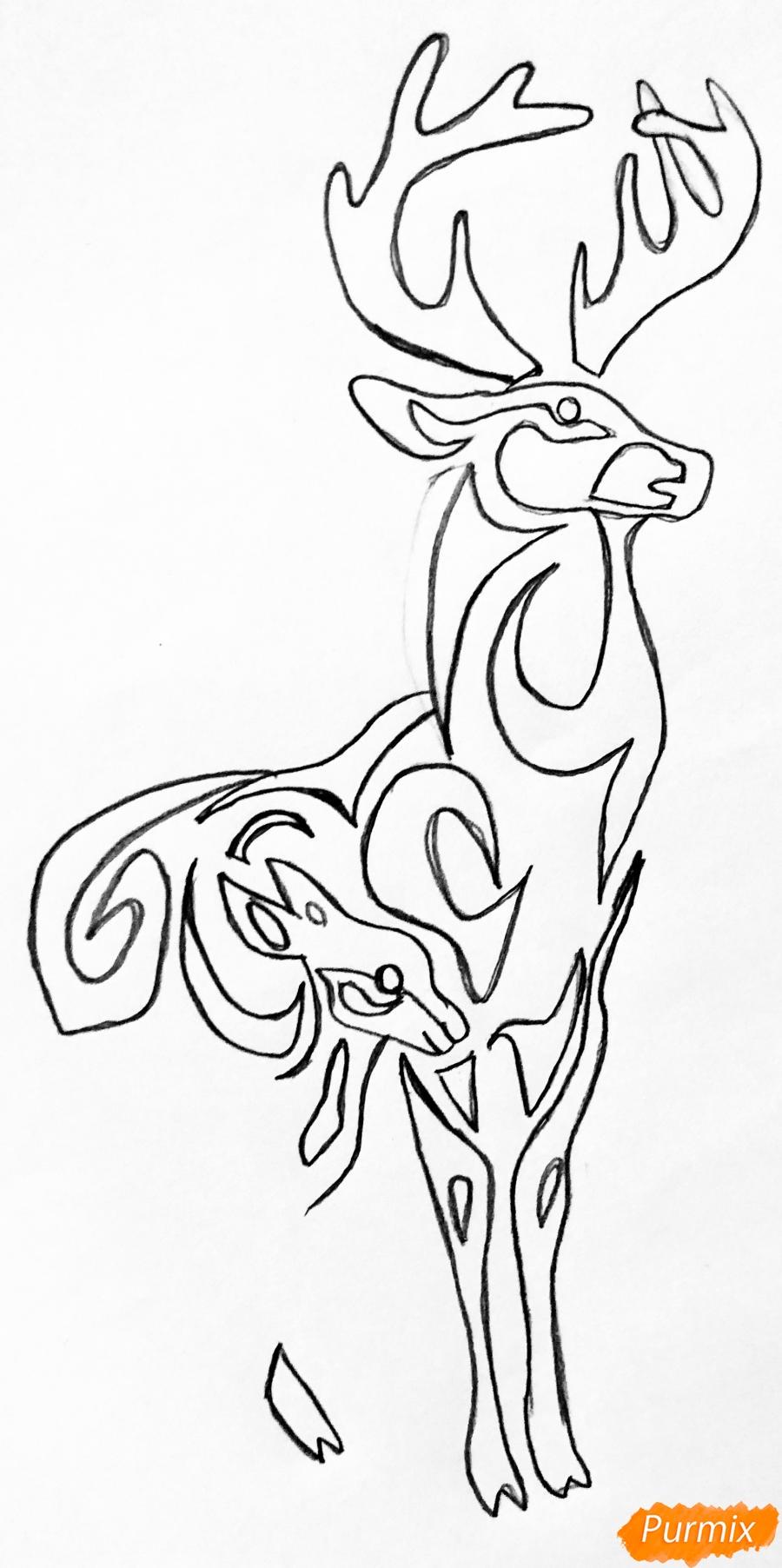 Рисуем оленя и оленёнка в стиле тату - шаг 4