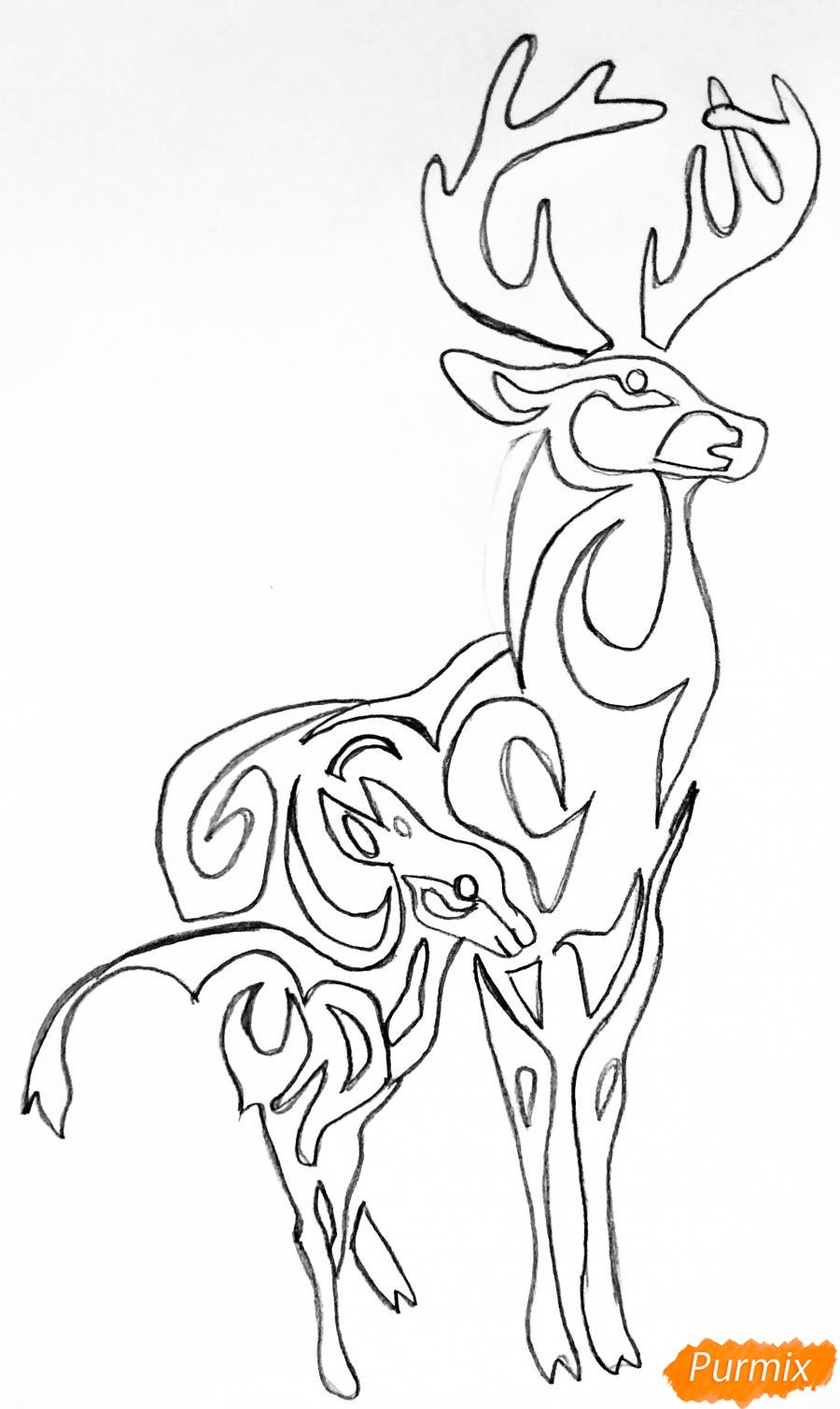 Рисуем оленя и оленёнка в стиле тату - шаг 5