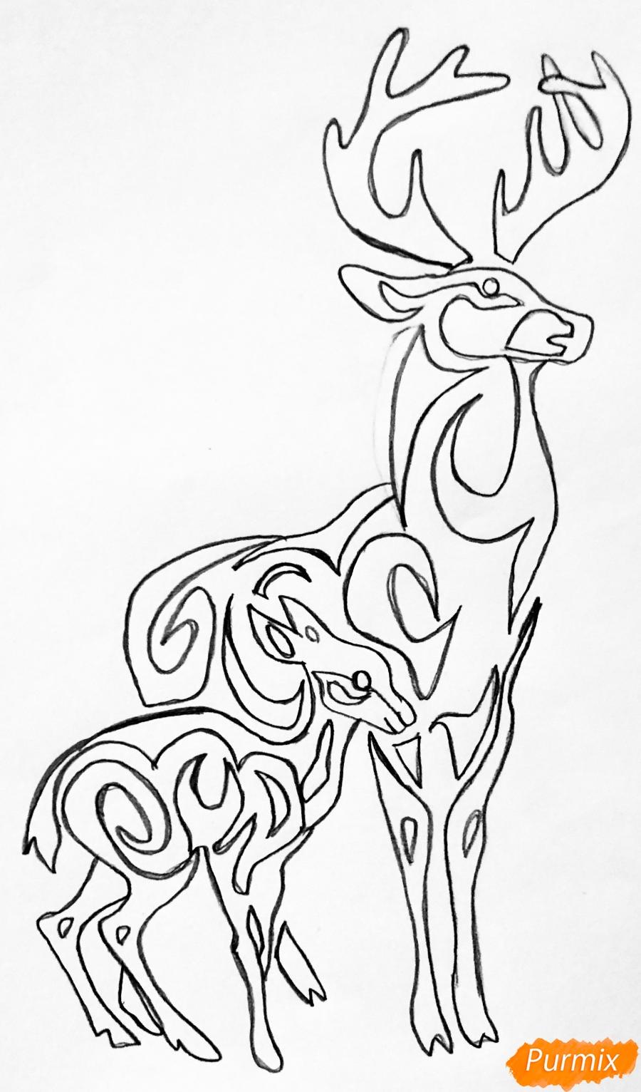 Рисуем оленя и оленёнка в стиле тату - шаг 6