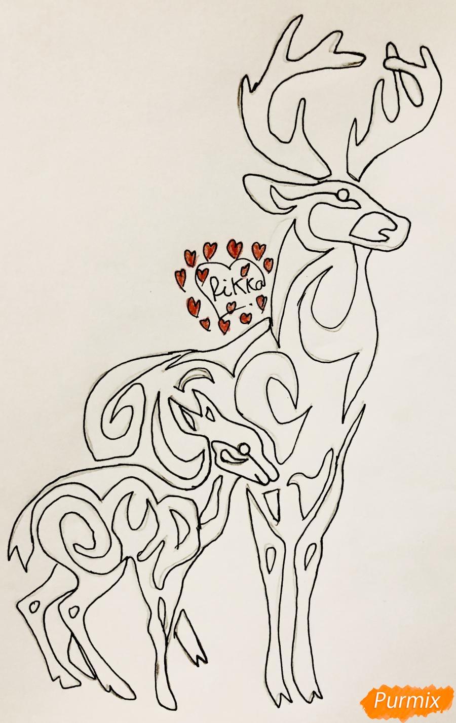 Рисуем оленя и оленёнка в стиле тату - шаг 7