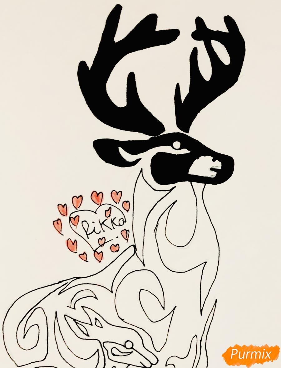Рисуем оленя и оленёнка в стиле тату - шаг 8