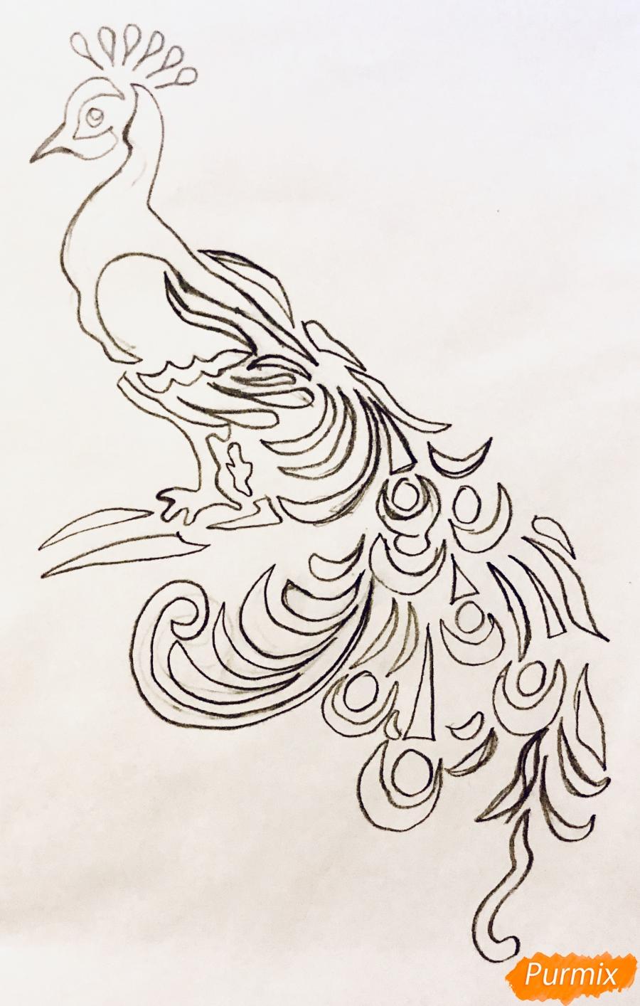 Рисуем тату Павлина  и маркером - шаг 3