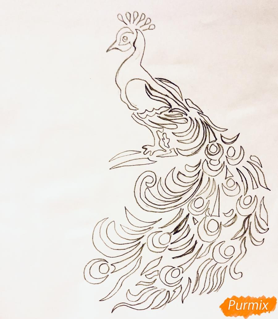 Рисуем тату Павлина  и маркером - шаг 4