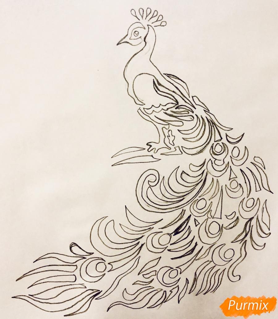 Рисуем тату Павлина  и маркером - шаг 5
