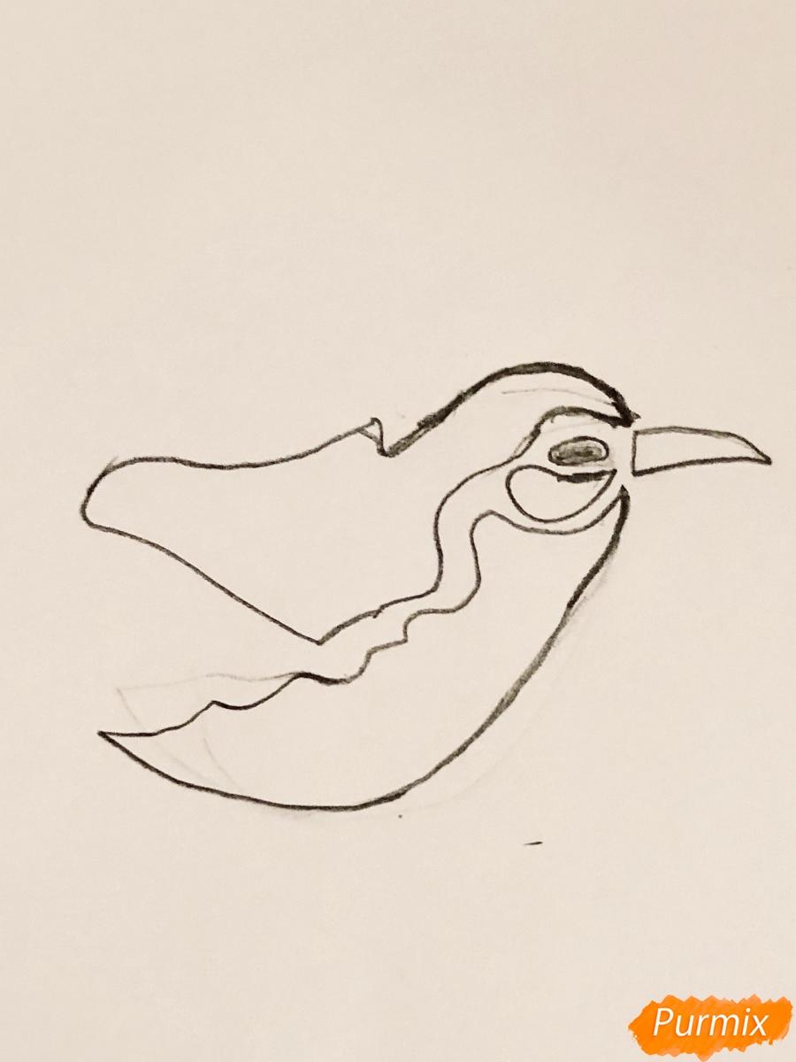 Рисуем тату синицу  и ручкой - шаг 1