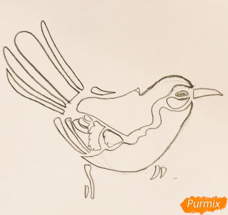Рисуем тату синицу  и ручкой - шаг 2