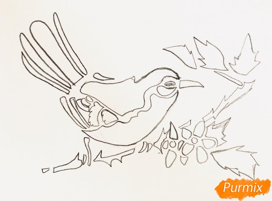 Рисуем тату синицу  и ручкой - шаг 3