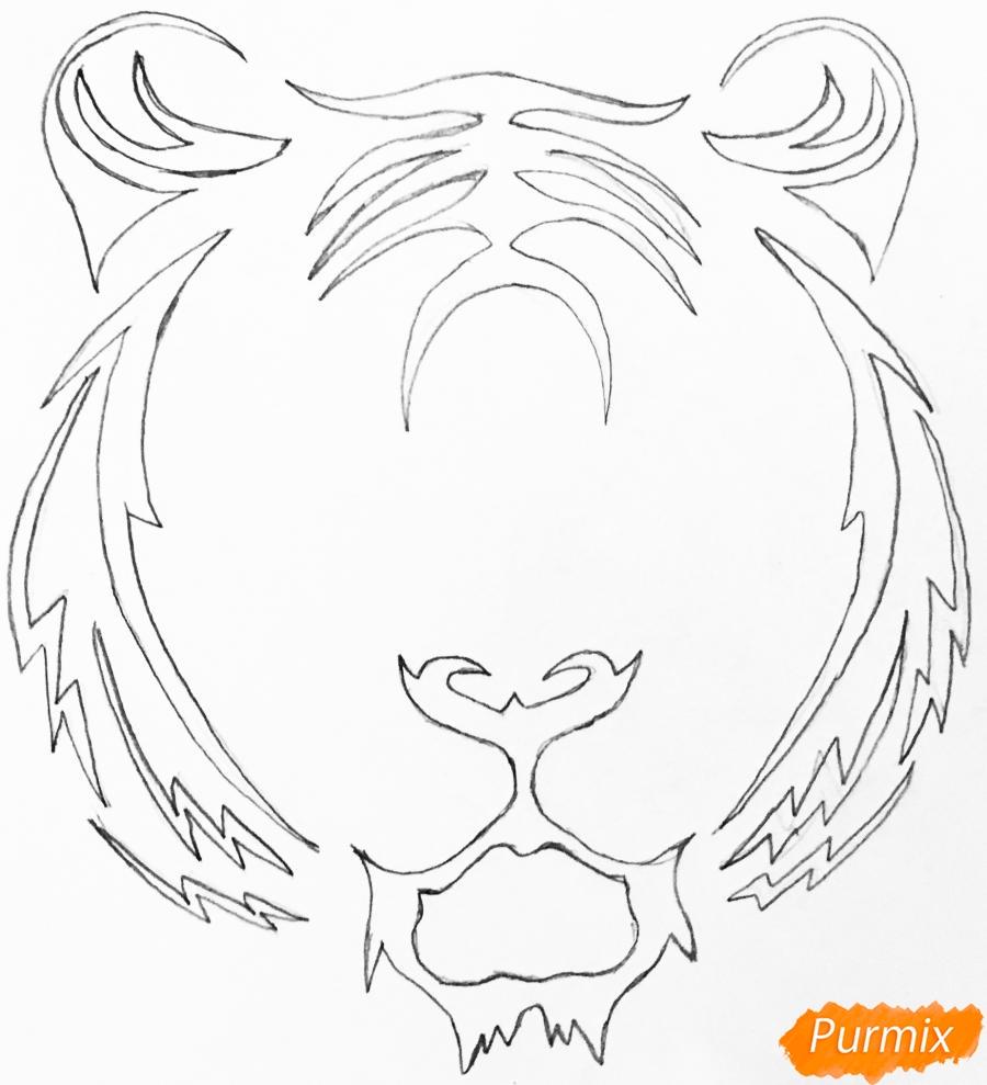 Рисуем тигра в стиле тату - шаг 3