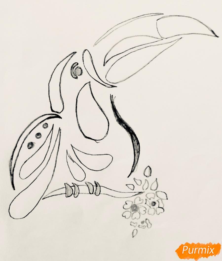Рисуем тукана в стиле тату - шаг 3