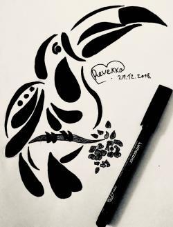 Фото тукана в стиле тату карандашом