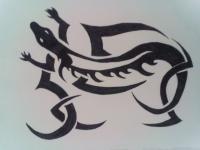 Фото ящерицу в стиле тату