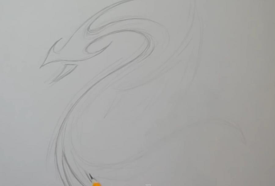 Как легко нарисовать тату дракона на бумаге - шаг 1