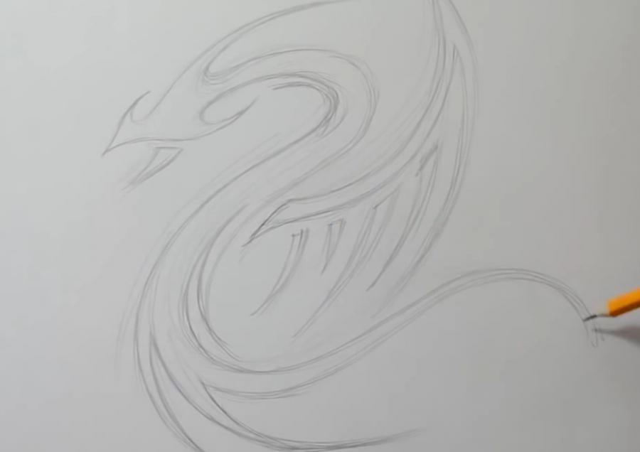 Как легко нарисовать тату дракона на бумаге - шаг 2