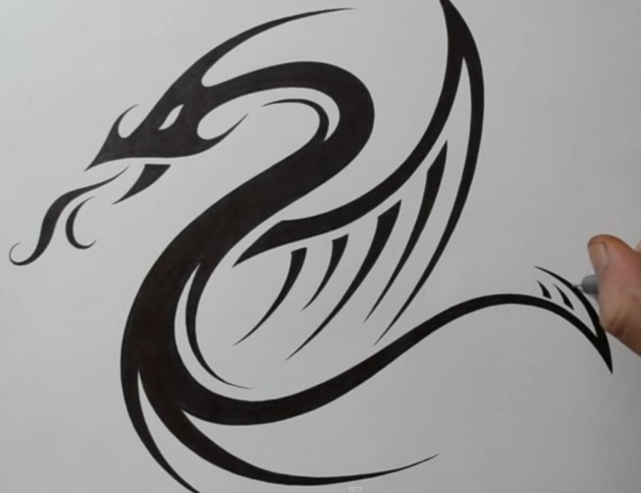 Как легко нарисовать тату дракона на бумаге - шаг 4