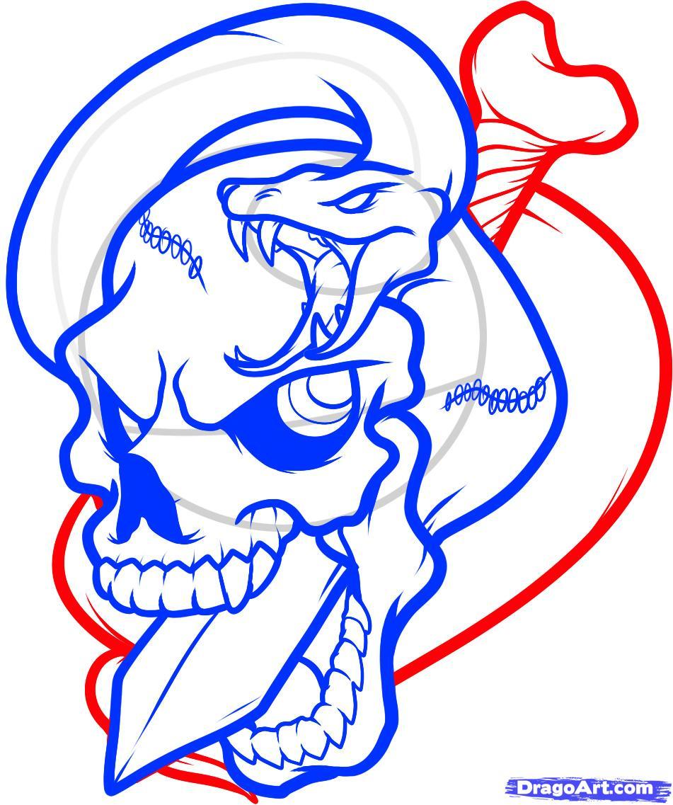 Рисуем череп пробитый кинжалом со змеей - шаг 10
