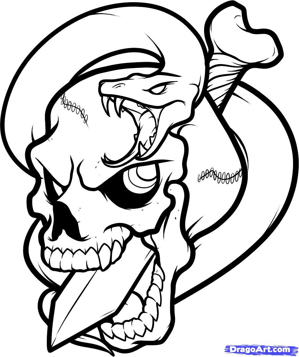 Рисуем череп пробитый кинжалом со змеей - шаг 11