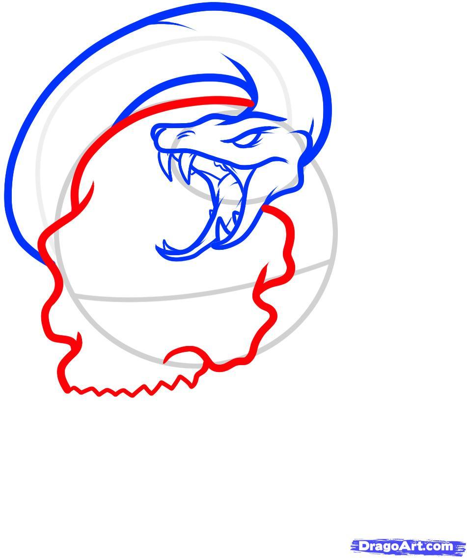 Рисуем череп пробитый кинжалом со змеей - шаг 5