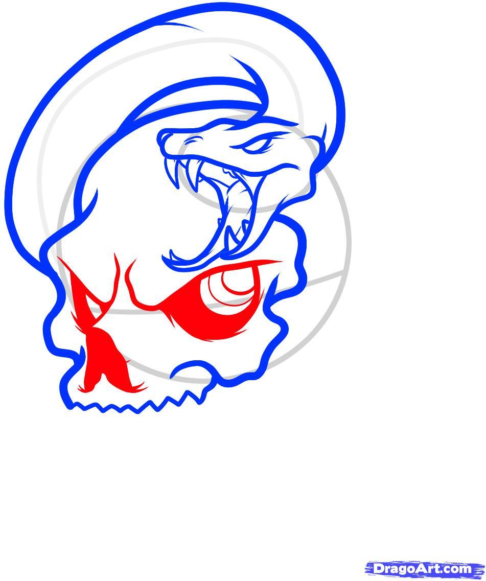 Рисуем череп пробитый кинжалом со змеей - шаг 6