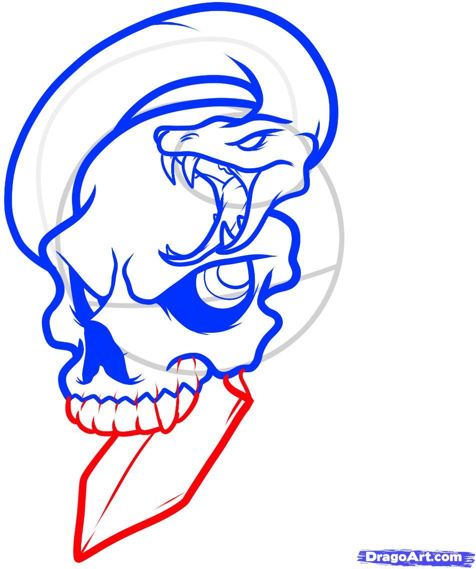 Рисуем череп пробитый кинжалом со змеей - шаг 7
